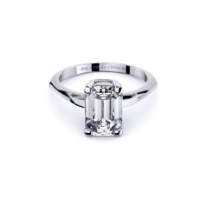Adelaide Diamond company 4 claw emerald cut solitaire engagement ring front page view
