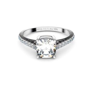 Adelaide diamonds cushion solitaire with diamond set band
