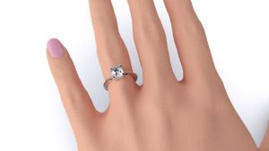 Adelaide Diamond company 4 claw emerald cut solitaire engagement ring front page view radiant on hand