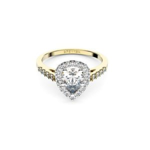 Adelaide diamonds halo pear yellow gold engagement ring