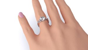 Adelaide diamond engagement ring three stone round with pears hand