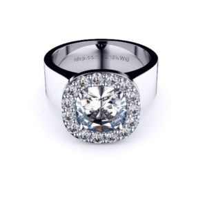 Adelaide diamond engagement ring halo cushion wide band front 512