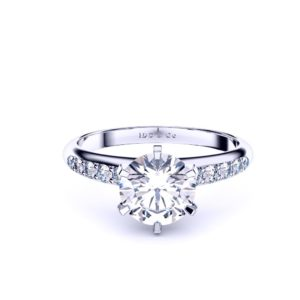 Adelaide diamond company round brilliant diamond with reverse taper diamond shoulders