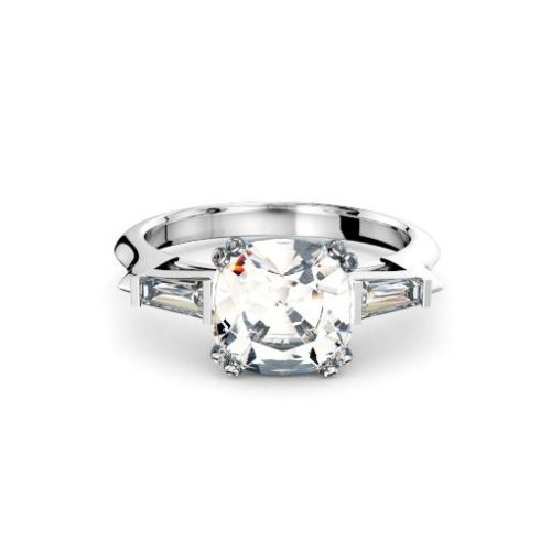 Adelaide diamond engagement ring cushion diamond with tapered baguettes in white gold