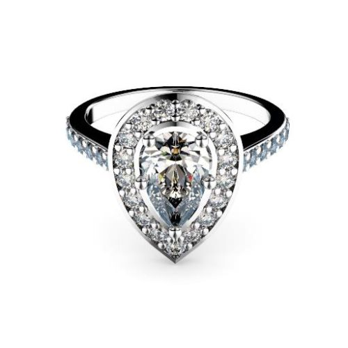 Adelaide diamond engagement ring halo pear with diamond band