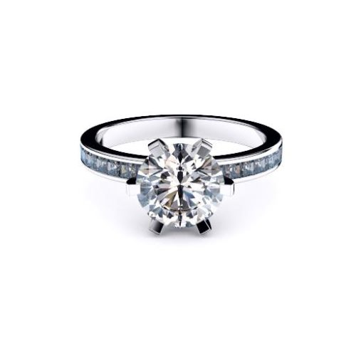 Adelaide diamond company round brilliant diamond with princess cut diamond shoulders